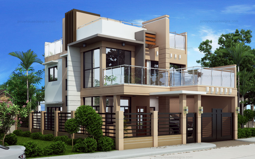 Two storey modern with firewall phd ts 2016023 pinoy house designs