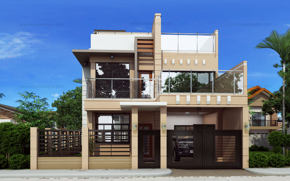 Ricardo two storey modern with firewall phd ts 2016023 pinoy house designs pinoy house for Modern 2 story home plans