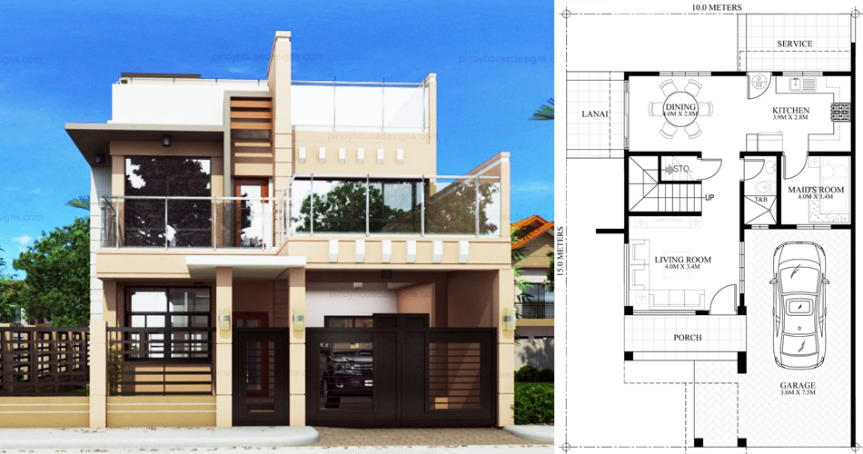 Ricardo Two Storey Modern With Firewall Phd Ts 2016023 Pinoy House Designs