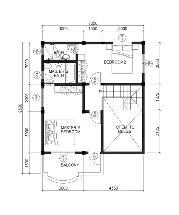 Two Story Contemporary House Plan Second-floor