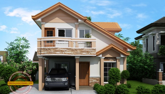 Two Story Contemporary House Plan With Open To Below   Floor Area: 124  Sq.m.   3 Beds   3 Baths