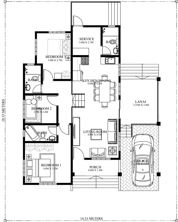Modern House Design Phd 2015015: Elevated One Storey House Design PHD-2015022