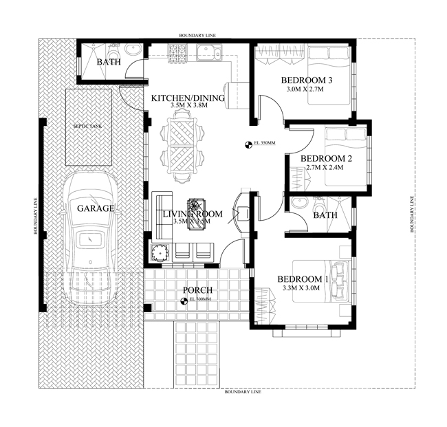Modern House Design Phd 2015015: One Storey House Design, PHD-2015005