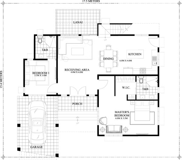 2 Storey Cool House Plan ground floor