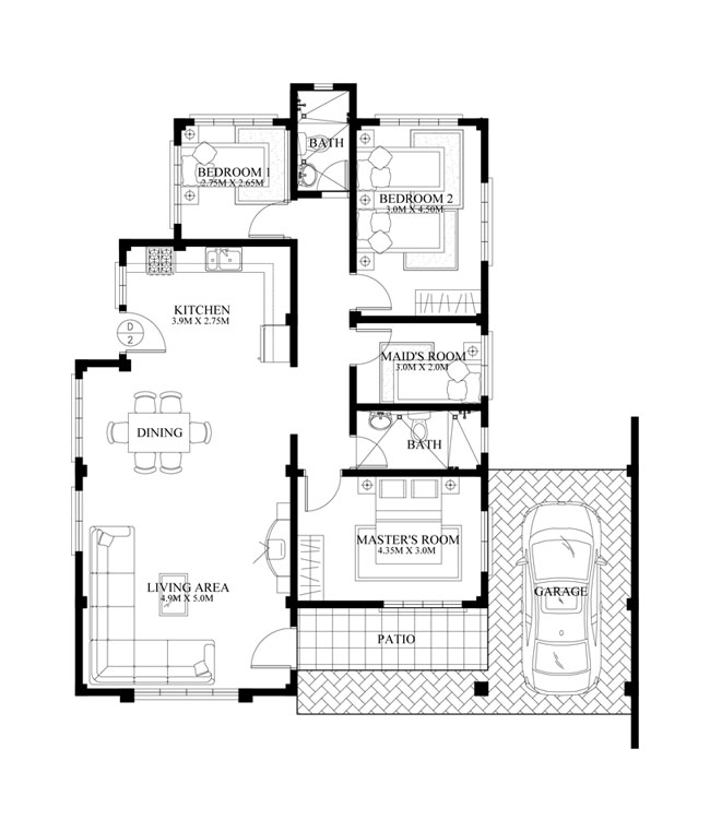 Home Design Ideas Floor Plans: Bungalow House PHD-2015016