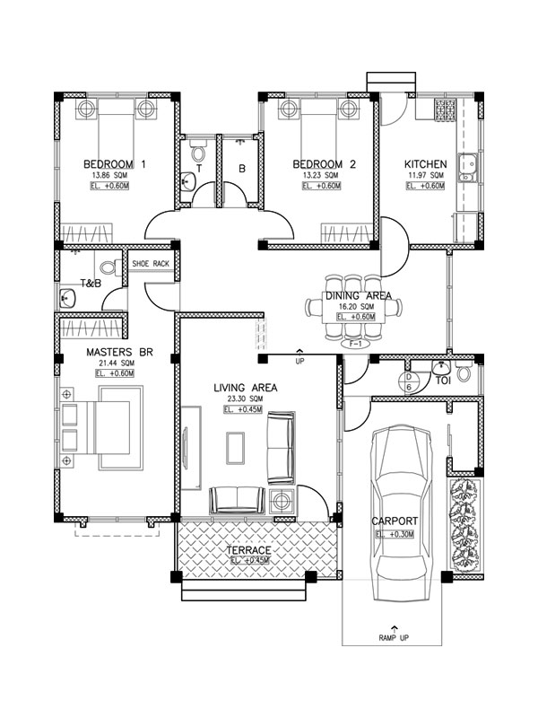 pinoy house design 2015017 floor plan - 19+ Small Modern 3 Bedroom House Plans  Pictures