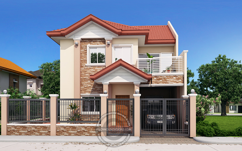 Andres Two Storey House With Firewall Pinoy House Designs Pinoy