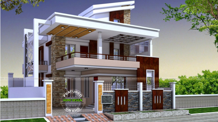 Elevation Of Double Storey Building : Two story house plans kerala perspective series pinoy
