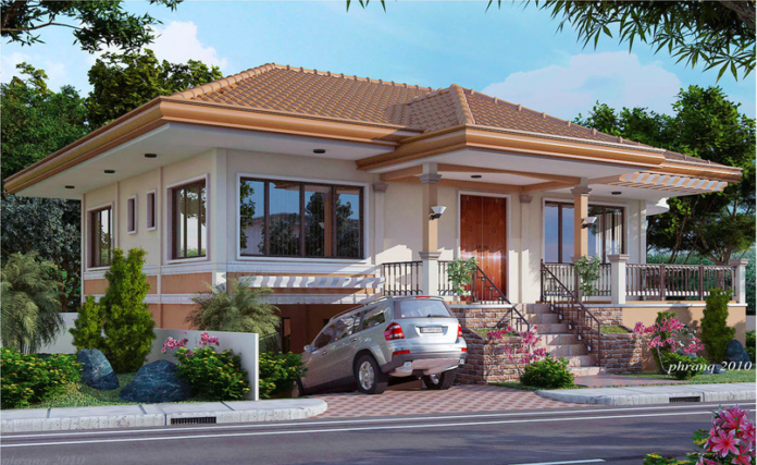 Charming One Storey House Design With Basement Garage   Pinoy House Designs   Pinoy  House Designs