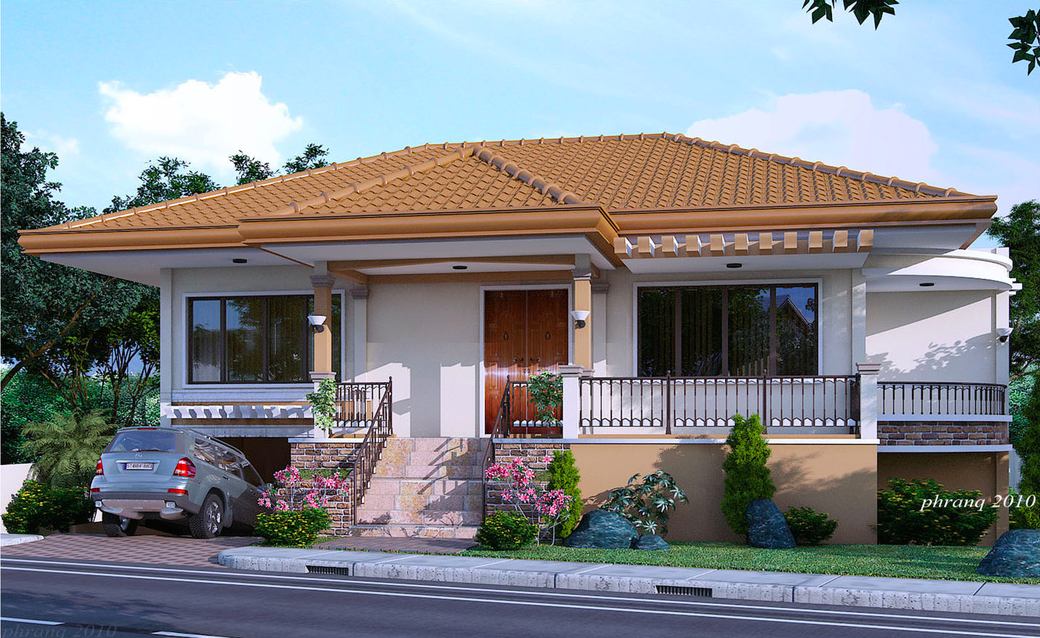 One storey house design with basement garage pinoy house for One story modern house plans