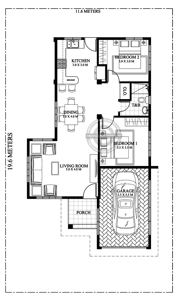 One Storey House Design floor plan