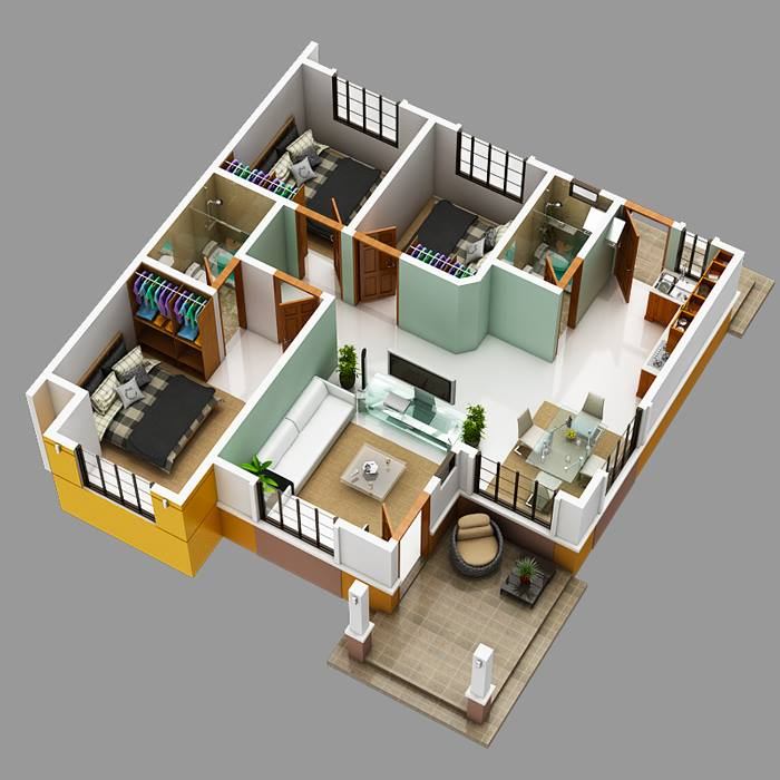 Modern bungalow house with 3d floor plans and firewall for Create house design 3d