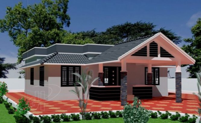 Picture of One story contemporary house design with floor plan