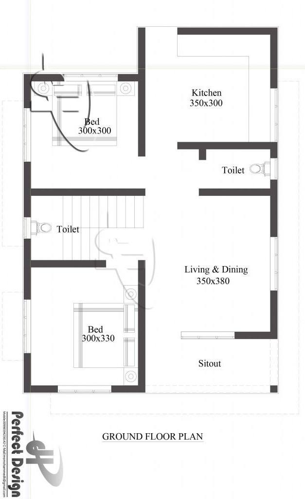 Picture of Simple Two Bedroom Single Floor House with 68 m² Area