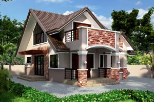 Picture of Striking Two Story Contemporary Residential House with Interior Design