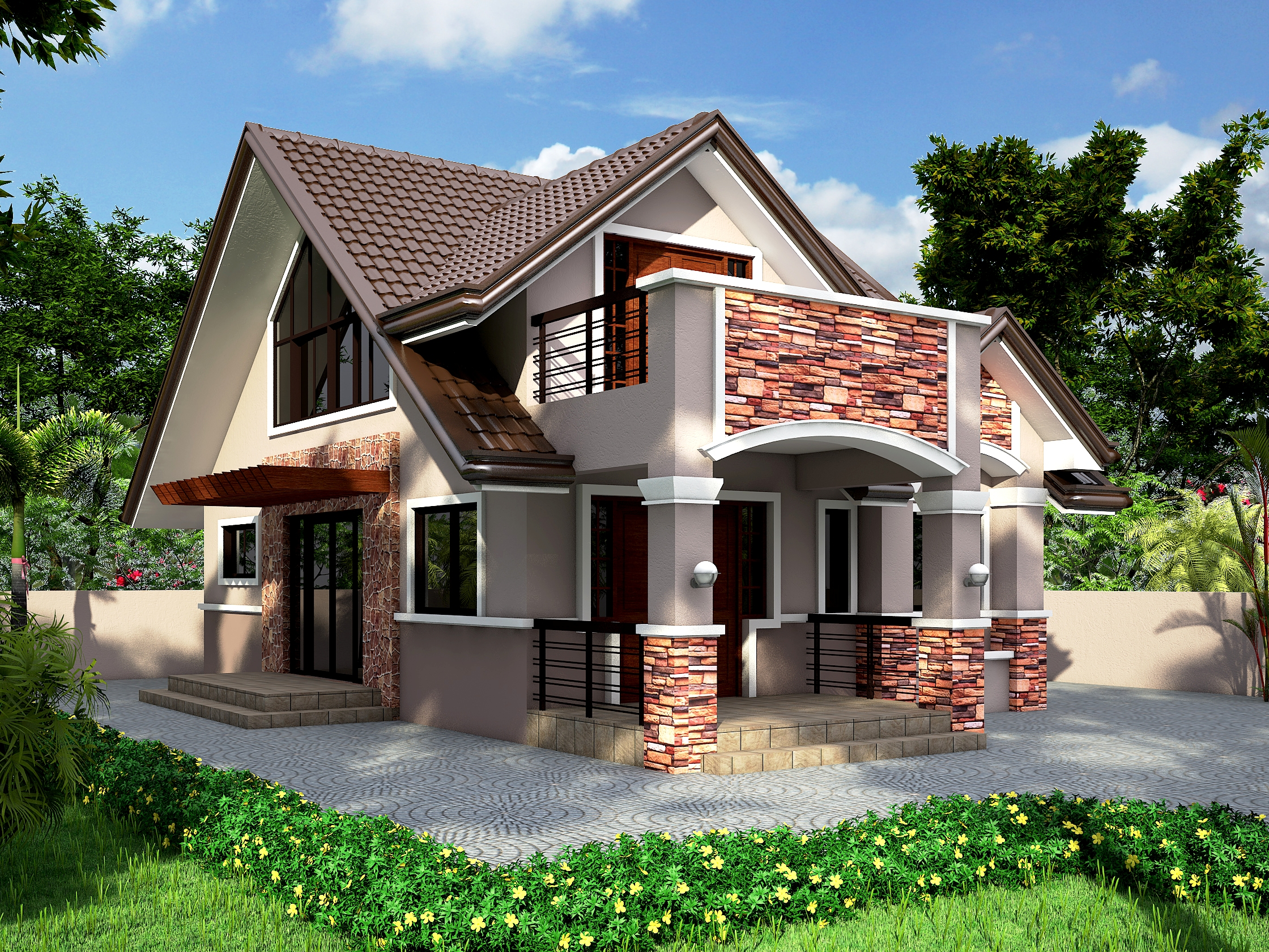 Striking two story contemporary residential house with for Pinoy house design