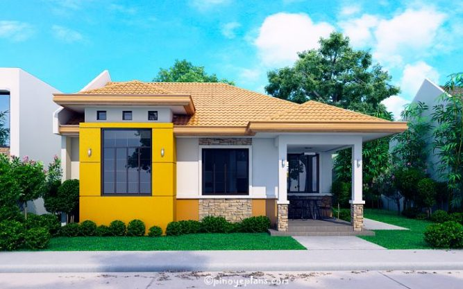 Modern bungalow house with 3d floor plans and firewall pinoy house designs for Home design philippines small area