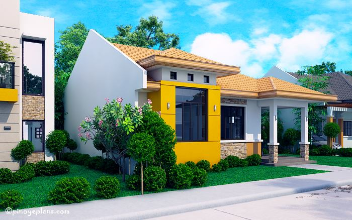 Modern bungalow house with 3d floor plans and firewall pinoy house designs pinoy house designs for Filipino house design with floor plan