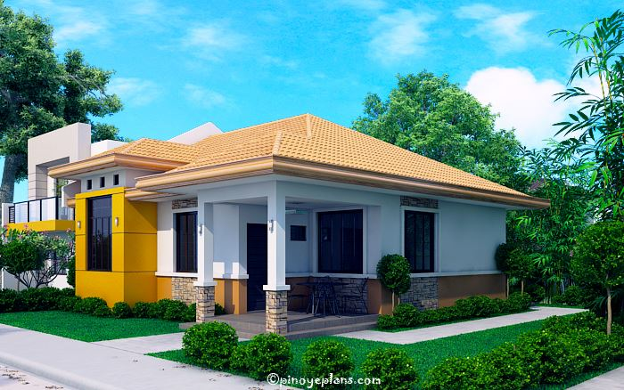 Modern Bungalow House With 3d Floor Plans And Firewall Pinoy House Designs