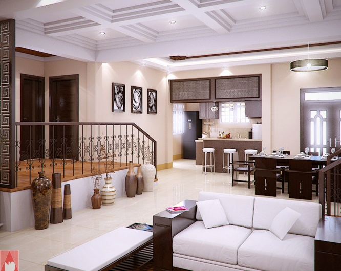 Picture Of Modern Bungalow House. The Highlight Of The Interior Design ...