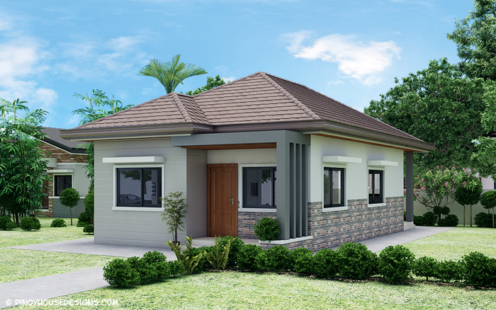 3 Bedroom Bungalow House Design Below Are The 4 Elevations Of Detailing Minute Features Front View Shows Wood Panel