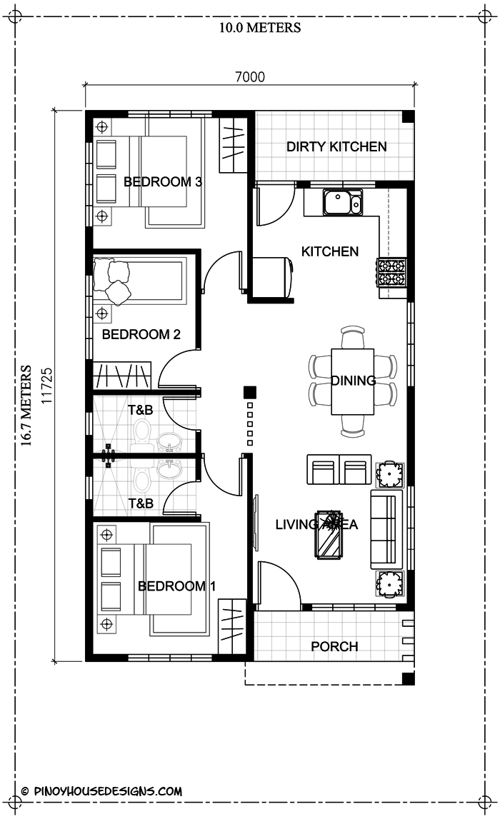 Simple 3 bedroom bungalow house design pinoy house designs pinoy house designs - Housessquare meters three affordable projects ...