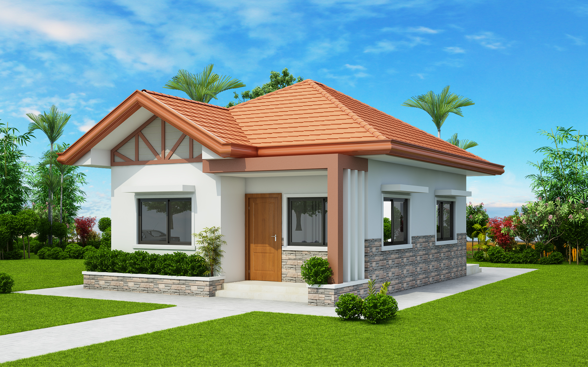 Two Bedroom Small House Design (PHD-2017035)