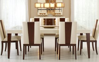Picture of Stylish Dining Tables with Drapery Stacked Chairs