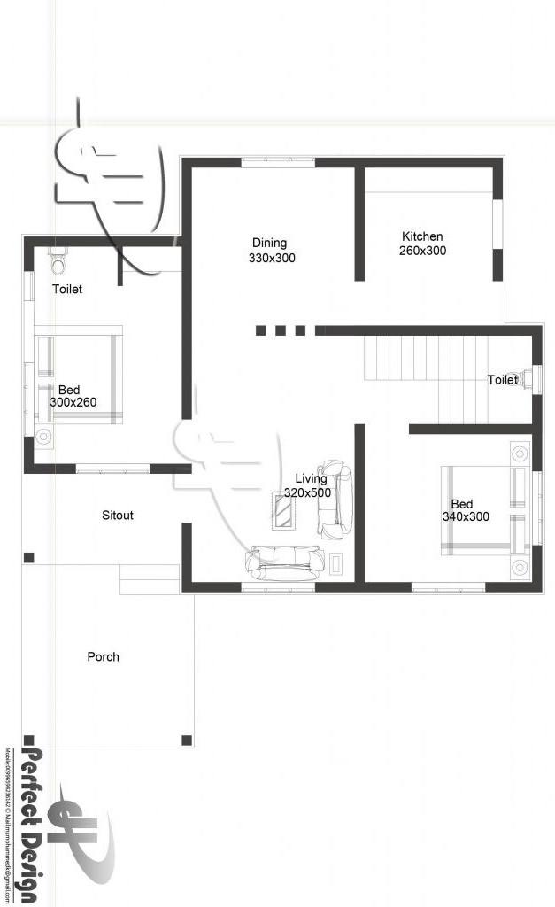 The small and simple home designs are easy to plan and design internally. Since it is just a small space then, placements of rooms comes naturally. This simple one bedroom single story house with roof deck has two bedrooms in 80 m². A unique design, the porch is serving a double purpose where it can be converted into a one-car garage.