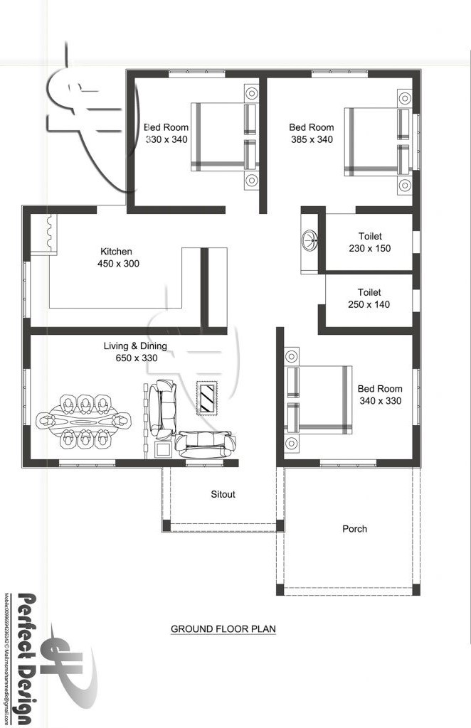 modern bungalow house plan with three bedrooms - pinoy house designs