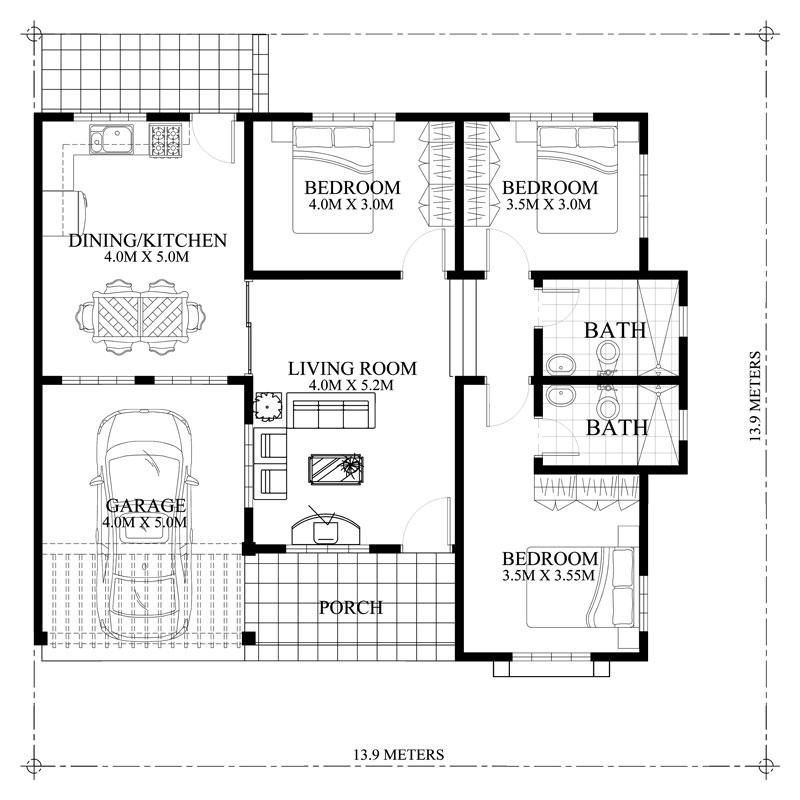Shd 2012004 design2 floor plan pinoy house designs for 3 bedroom floor plan with garage