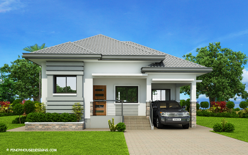 SHD 2015022 DESIGN4 Color2 View02 - View Modern 3 Bedroom House Plans And Designs Images