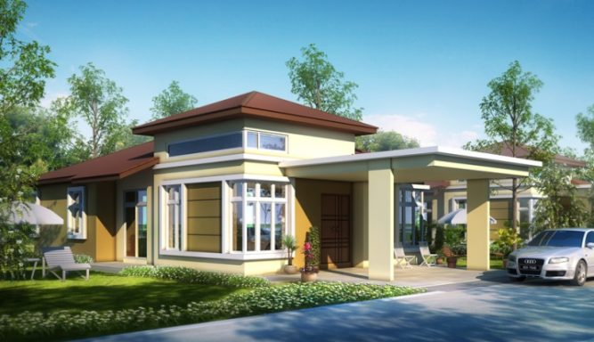 Artistic modern bungalow house with melodramatic interior for Single storey bungalow design