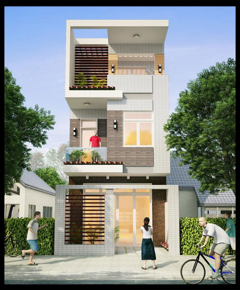 Picture of Slim and Practical Three Story House in Narrow Lot