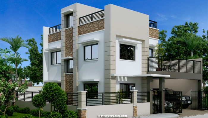Montemayor Four Bedroom Fire Walled Two Story House Design With Roof Deck