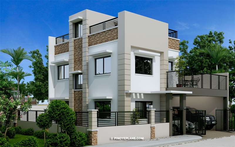 Montemayor – Four Bedroom Fire-walled Two Story House Design with Roof Deck