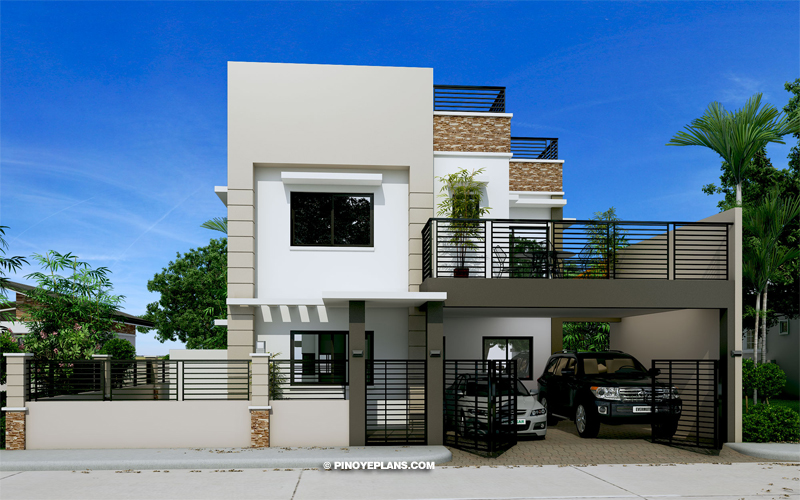 MHD 2016027 DESIGN1 View02 - Get Small Simple 2 Storey House Design With Terrace  Pictures