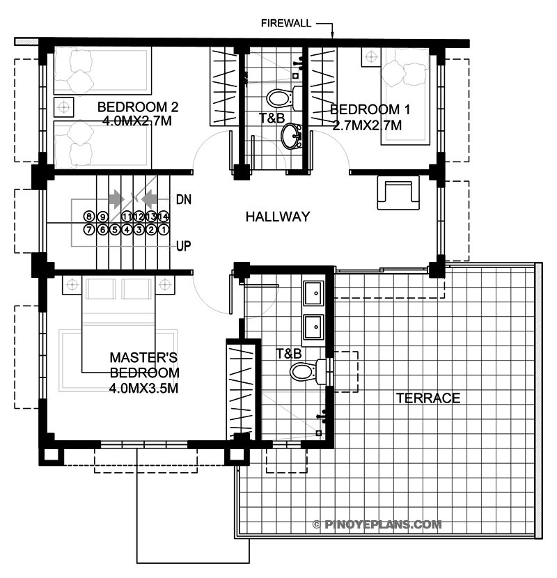Montemayor four bedroom fire walled two story house for House floor plan with roof deck