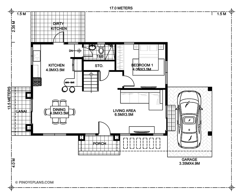 Alfonso four bedroom 2 storey cool house plan pinoy for 2 bedroom ground floor plan
