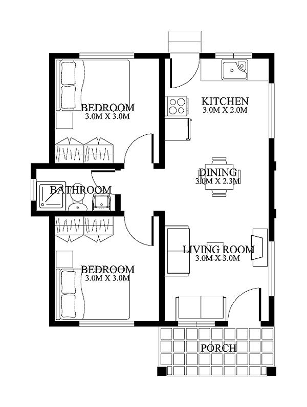 Extremely Gorgeous 2 Bedroom House Plans Pinoy House