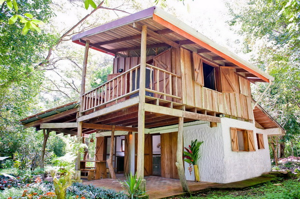 Picture of Two-Storey Wooden House Design with Interior