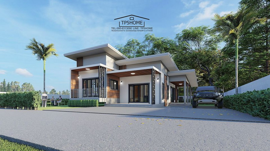Picture of High Ceiling Modern House Design of 3 Bedrooms