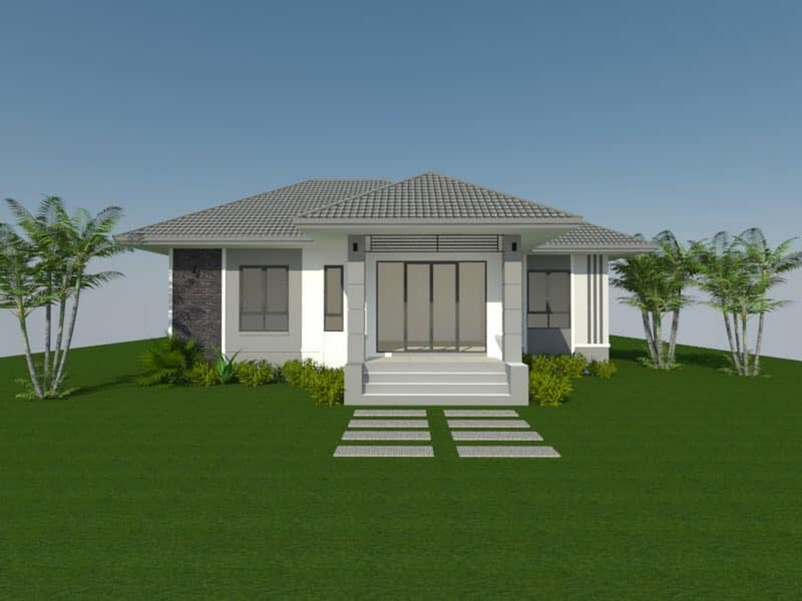 Picture of Single Storey Contemporary Home Plan in a Garden Lawn