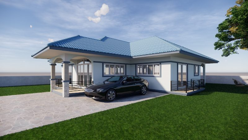 Picture of Three Bedroom Bungalow House in Blue Hip Roof