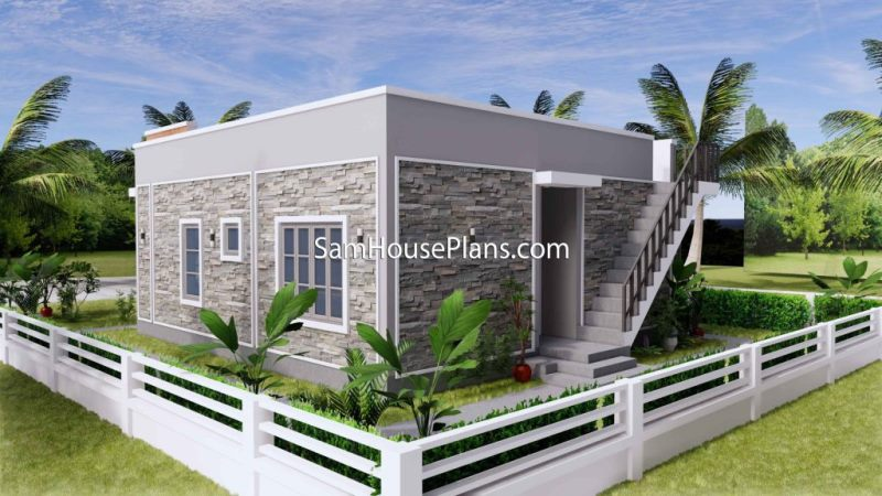Picture of Elegant Modern Bungalow Home with Stones Wall