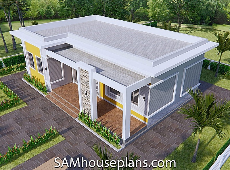 Picture of Single-Storey House Design in Grey and Yellow Shades